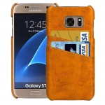 For Samsung Galaxy S7 / G930 Oil Wax Texture Leather Back Cover Case with Card Slots (Yellow)