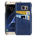 For Samsung Galaxy S7 Edge/ G935 Oil Wax Texture Leather Back Cover Case with Card Slots (Dark Blue)