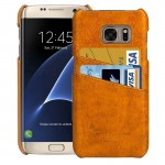 For Samsung Galaxy S7 Edge/ G935 Oil Wax Texture Leather Back Cover Case with Card Slots (Yellow)