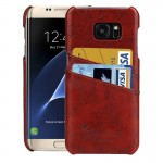 For Samsung Galaxy S7 Edge/ G935 Oil Wax Texture Leather Back Cover Case with Card Slots (Brown)