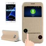 For Samsung Galaxy S7 / G930 Horizontal Flip Leather Case with Holder & Call Display ID (Gold)