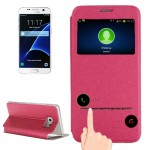For Samsung Galaxy S7 / G930 Horizontal Flip Leather Case with Holder & Call Display ID(Magenta)
