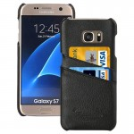 For Samsung Galaxy S7 / G930 Litchi Texture Fashion Genuine Leather Back Cover Case with Card Slots(Black)