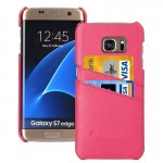 For Samsung Galaxy S7 Edge / G935 Litchi Texture Fashion Genuine Leather Back Cover Case with Card Slots(Magenta)