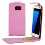 For Samsung Galaxy S7 / G930 Plain Texture Vertical Flip Leather Case Waist Bag with Magnetic Buckle & Card Slot(Pink)