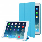 3-folding Cross Texture Leather Case with Holder & Sleep / Wake-up Function for iPad mini 1 / 2 / 3 (Blue)