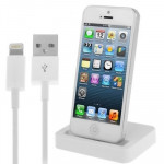 2 in 1 Kit (Base Dock Charger + USB Sync Data / Charging Cable) for iPhone 5 & 5S & 5C , iTouch 5(White)