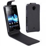 Vertical Flip Leather Case for Sony Xperia T / LT30i (Black)