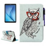 For Samsung Galaxy Tab E 8.0 / T377 Glasses Owl Pattern Horizontal Flip Leather Case with Holder & Wallet & Card Slots & Sleep /