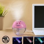 USB Powered Piggy Style Ultrasonic Humidifier Diffuser with Touch Switch & Colorful LED Light(Pink)