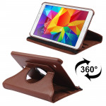 360 Degree Rotatable Litchi Texture Leather Case with 2-angle Viewing Holder for Samsung Galaxy Tab 4 8.0 / SM-T330(Coffee)