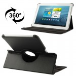 360 Degree Rotatable Litchi Texture Leather Case with Holder for Samsung Galaxy Tab 2 (10.1) / P5100(Black)