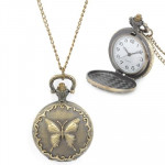 Butterfly Pattern Zinc Alloy Chain Analog Quartz Pocket Watch