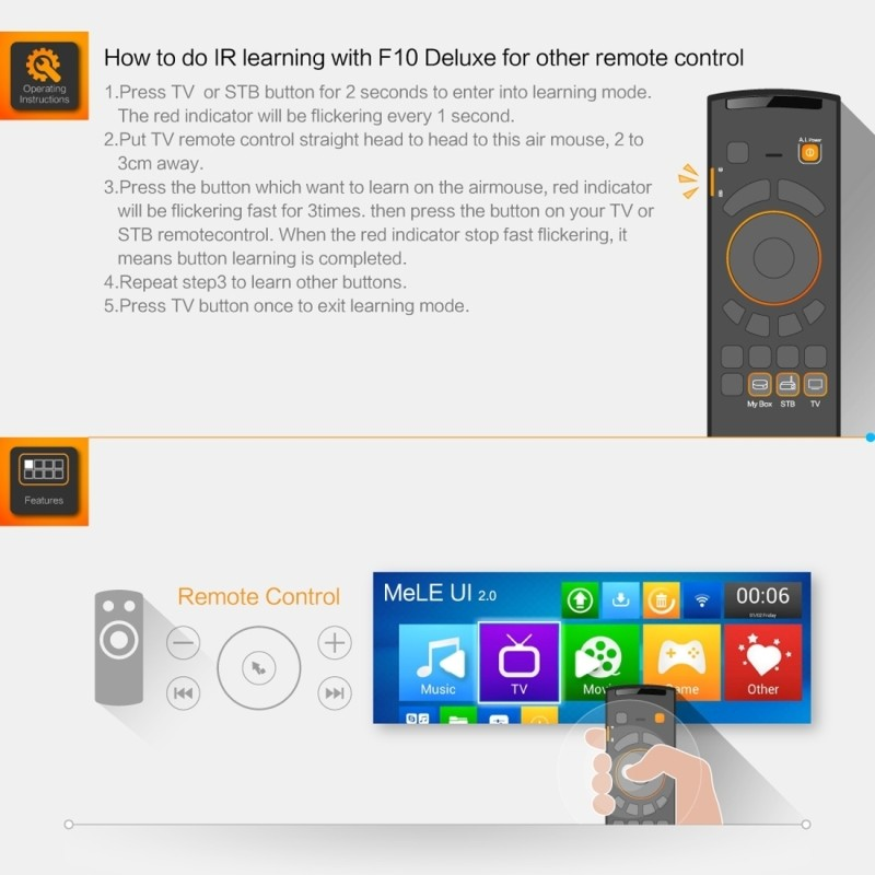 Mele F10 Deluxe 2 4GHz Fly Air Mouse Wireless QWERTY Keyboard Remote  Control with IR Learning Function for Android TV Box / Note