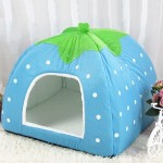 Strawberry Shaped Foldable Short Plush Pet House Nest, Size: S(Blue)