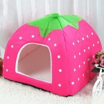 Strawberry Shaped Foldable Short Plush Pet House Nest, Size: M(Pink)
