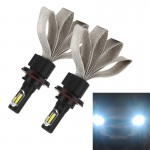 2 PCS S7 H13 40W 3200 LM 6000K IP68 Car Headlight with 2 COB Lamps and Heat Dissipation Cable, DC 9-30V(White Light)