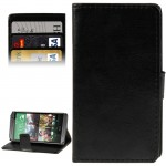 Crazy Horse Texture Flip Leather Case with Card Slots & Holder for HTC One M8 (Black)