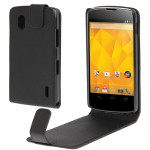 Pure Color Vertical Flip Soft Leather Case for LG Nexus 4 / E960(Black)