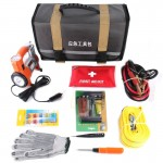 First Secure Roadside Emergency Car and Truck Kit with Safety Tools and Accessories Bag: Jumper Cables for Battery Auto Air Comp