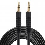 Aux Cable, 3.5mm Male Mini Plug Stereo Audio Cable, Length: 5m (Black + Gold Plated Connector)