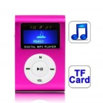 TF (Micro SD) Card Slot MP3 Player with LCD Screen, Metal Clip(Magenta)