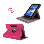 Litchi Texture 360 Degree Rotatable Universal Leather Case with Sleep / Wake-up & Holder for 7.0 inch Tablet PC(Magenta)