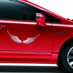 3D Angel Wing Metal Sticker Decal Auto Car Emblem Decal Decoration Color Silver