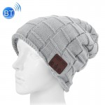Square Textured Knitted Bluetooth Headset Warm Winter Beanie Hat with Mic for Boy & Girl & Adults(Grey)