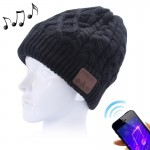 Wavy Textured Knitted Bluetooth Headset Warm Winter Beanie Hat with Mic for Boy & Girl & Adults(Black)
