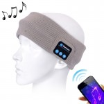 Knitted Bluetooth Headsfree Sport Music Headband with Mic for iPhone / Samsung and Other Bluetooth Devices (Grey)
