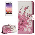 Plum Blossom Pattern Button Flip Leather Case with Card Slots & Holder for Huawei Ascend P7