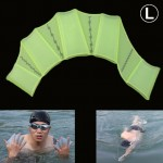 Silicone Swimming Web Fins Hand Flippers Training Gloves, L(Green)