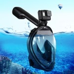 PULUZ 220mm Tube Water Sports Diving Equipment Full Dry Snorkel Mask for GoPro HERO5 /4 /3+ /3 /2 /1, L/XL Size(Black)