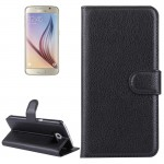 For Samsung Galaxy S6 / G920 Litchi Texture Horizontal Flip Leather Case with Holder & Card Slots & Wallet(Black)