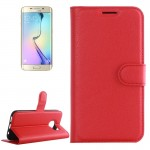 For Samsung Galaxy S6 Edge / G925 Litchi Texture Horizontal Flip Leather Case with Holder & Card Slots & Wallet(Red)