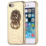 For iPhone SE & 5s & 5 Snakeskin Texture Paste Skin PC Protective Case with Lion Head Holder(Gold)
