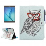 For Samsung Galaxy Tab A 9.7 / T550 Glasses Owl Pattern Horizontal Flip Leather Case with Holder & Wallet & Card Slots & Sleep /
