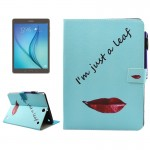 For Samsung Galaxy Tab A 9.7 / T550 Lips and Leaves Pattern Horizontal Flip Leather Case with Holder & Wallet & Card Slots & Sle