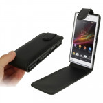 Pure Color Vertical Flip Leather Case for Sony Xperia SP / M35h (Black)
