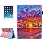 For iPad 9.7 inch 2017 / iPad Air / iPad Air 2 Universal Sunset Landscape Pattern Horizontal Flip Leather Protective Case with H