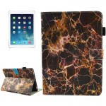 For iPad mini 4 / mini 3 / mini 2 / mini Universal Black and Gold Marble Pattern Horizontal Flip Leather Protective Case with Ho
