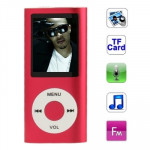 Lecteur MP4 rouge pour carte TF support d'enregistrement radio FM E-Book et calendrier 1.8 pouces TFT Screen Metal MP4 Player...
