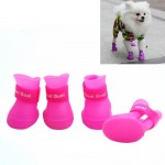 Lovely Pet Dog Shoes Puppy Candy Color Rubber Boots Waterproof Rain Shoes, S, Size: 4.3 x 3.3cm(Pink)