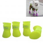 Lovely Pet Dog Shoes Puppy Candy Color Rubber Boots Waterproof Rain Shoes, S, Size: 4.3 x 3.3cm(Yellow)