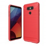 For LG G6 Brushed Carbon Fiber Texture Shockproof TPU Protective Cover Case (Red)