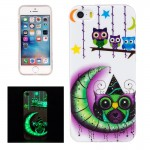 For iPhone 5 & 5s & SE Noctilucent Moon And Owls Pattern IMD Workmanship Soft TPU Back Cover Case