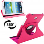 360 Degrees Rotation Litchi Texture Leather Case with Holder for Samsung Galaxy Tab 3 (7.0) / P3200 / P3210(Magenta)