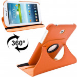 360 Degrees Rotation Litchi Texture Leather Case with Holder for Samsung Galaxy Tab 3 (7.0) / P3200 / P3210(Orange)