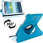 360 Degrees Rotation Litchi Texture Leather Case with Holder for Samsung Galaxy Tab 3 (7.0) / P3200 / P3210(Blue)
